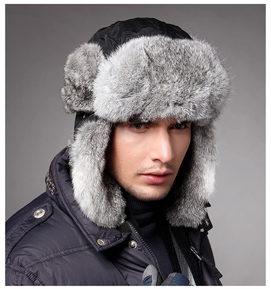 4be891b05a Ultra Warm Rabbit Fur Trapper Hats Mens Winter Snow Skiing Caps Hats Black  at Amazon Men s Clothing store