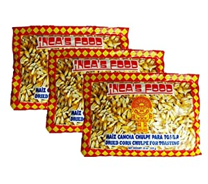 Inca's Food Maiz Cancha Chulpe 15 Oz (3-pack), Dried Corn for Toasting, Product of Peru