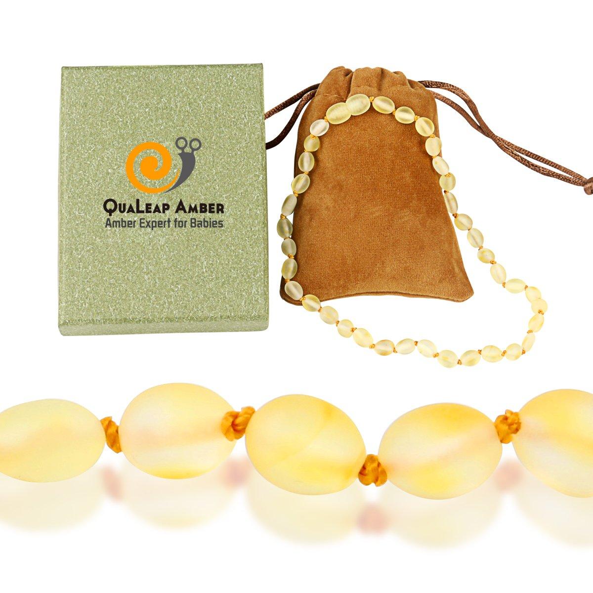 Baltic Raw Amber Teething Necklace Baby (Unisex – Raw Lemon – 12.5 inches), Unpolished Infant & Toddler Amber Teething Necklace – Natural Alternative to Baby Teether