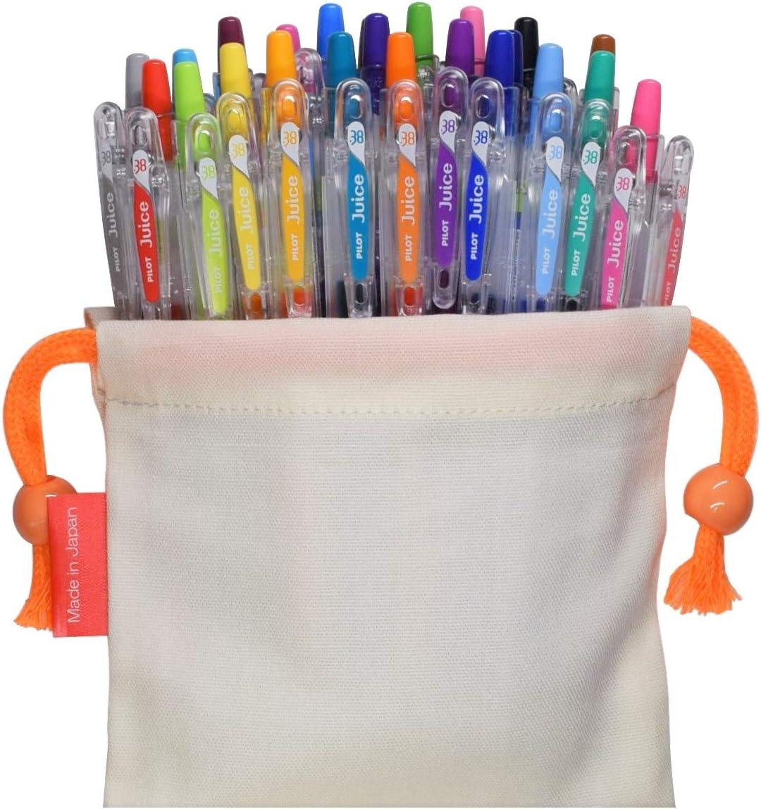 Pilot Juice Gel Ink Retractable Ballpoint Pen (0.38mm Ultra fine Point, 24 Color with Drawstring Bag Set)