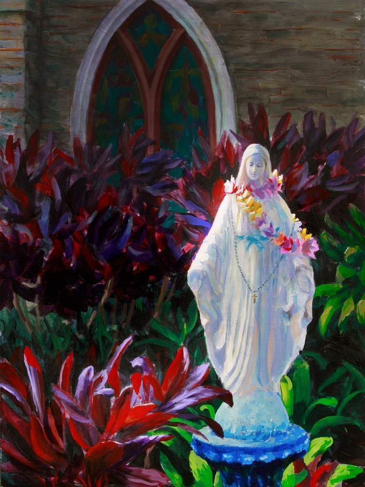Statue of Mary in Hawaiian Lei 5x7 Art Print Catholic Statue Painting by Karen Whitworth