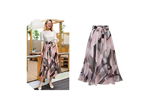 Floral Skirt Women Summer Skirt Elastic High Waist Jupe Femme 5XL ...