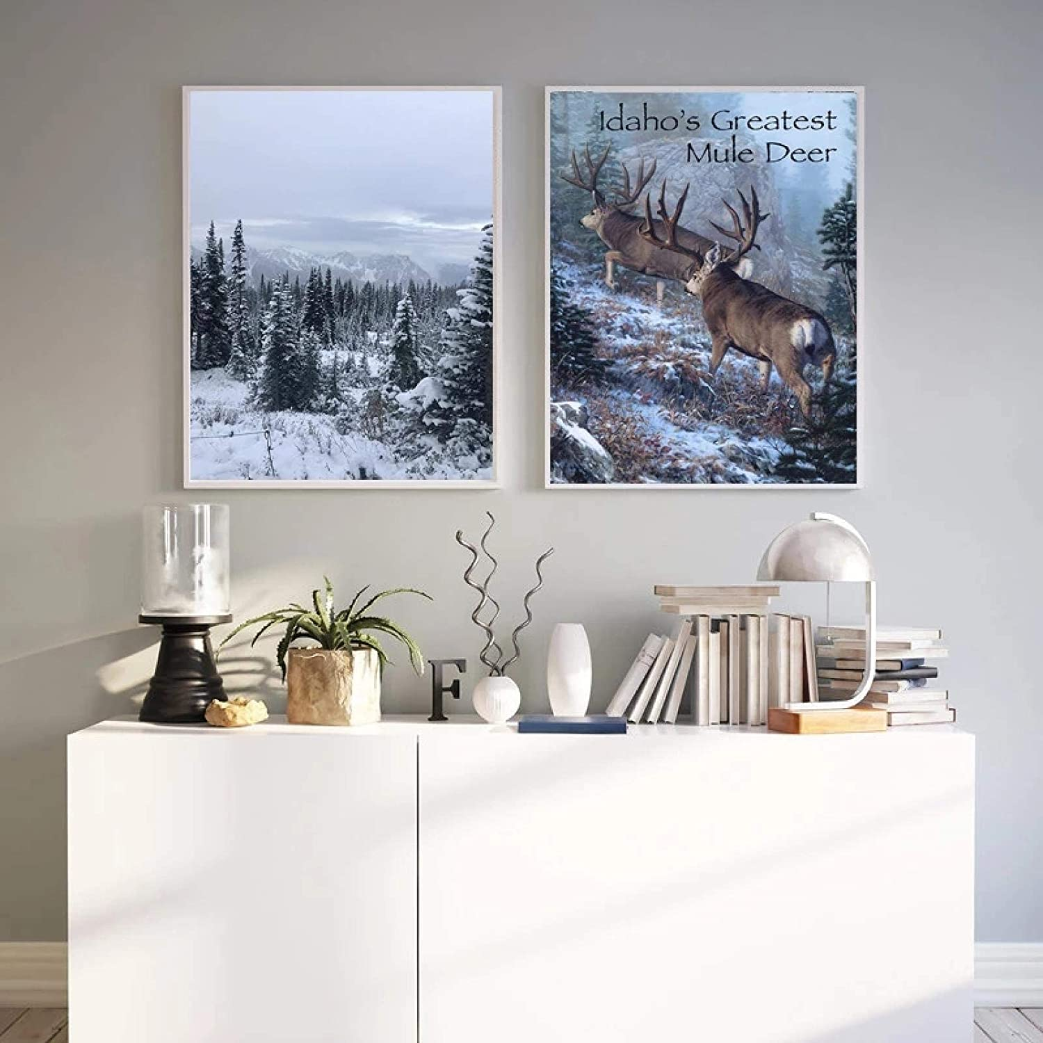 """KELEQI Forest Moose Christmas Decor Wall Art Canvas Nordic Posters Modern Print Snow Tree Painting Home Decoration 15.7""""x25.5""""(40x65cm) X2 Frameless"""
