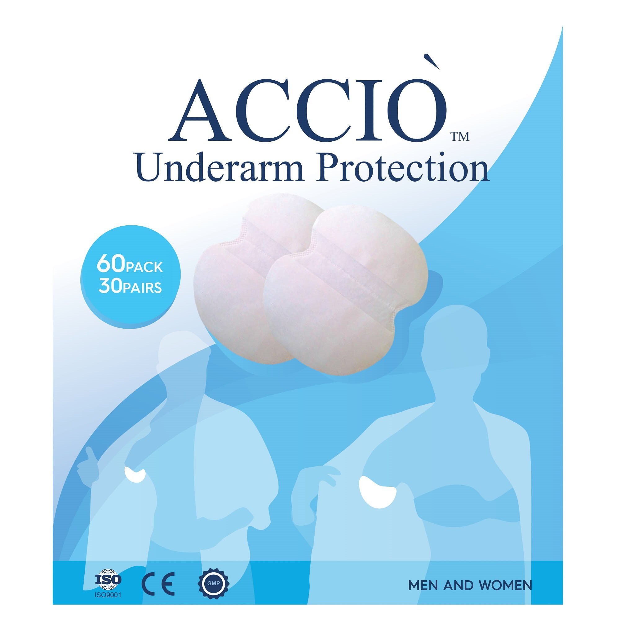 Underarm Sweat Pads - For Men and Women | 60 Pack | Comfortable Non Visible Disposable Hyperhidrosis Shields, Sweat Free Armpit Protection Dress Guards by ACCIO (Image #1)