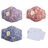3Pcs Fashionable,Reusable, Washable Facial Cotton Covering for Women- Includes 12Pcs Filters (Multicolored)