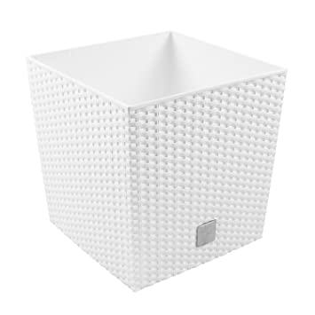 64L Blumentopf Pflanzkübel inkl. Einsatz quadratisch in Rattan-Optik ...