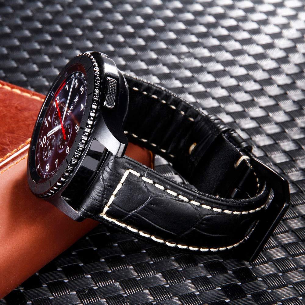 22MM f/ür Herren//Damen 2 Farben samLIKE Ersatzband f/ür Samsung Gear S3 Leder Armband Retro-Stil Weich Sport Ersatzarmband