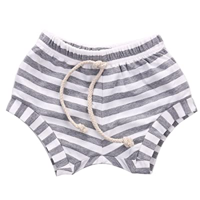 Baby Boy Girl Striped Training Pants French Terry Shorts Drawstring Underwear