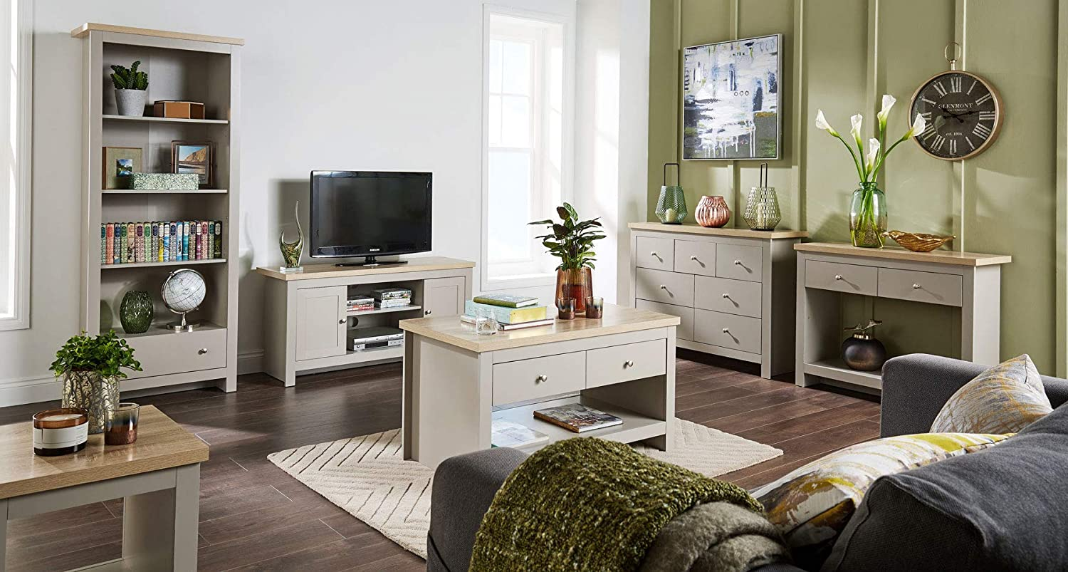 Home Source Grey Oak TV Stand Two Tone 1 Door Cabinet Television Unit Open Shelf Cable Tidy
