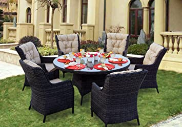 Darlee 7 Piece Valencia Wicker Round Dining Set With Cushions, 60u0027u0027