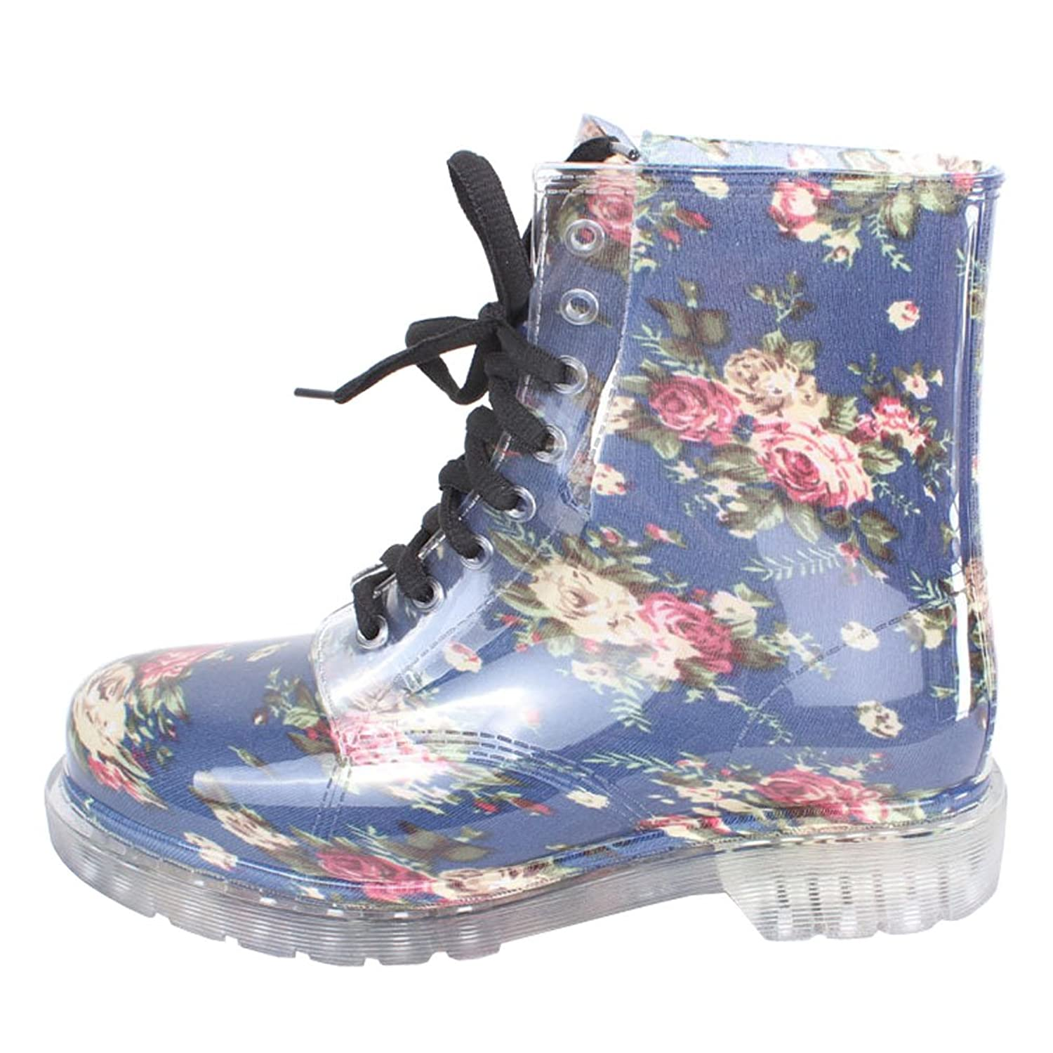 Women's Cute Print Waterproof Lace-up Ankle Rain Boot