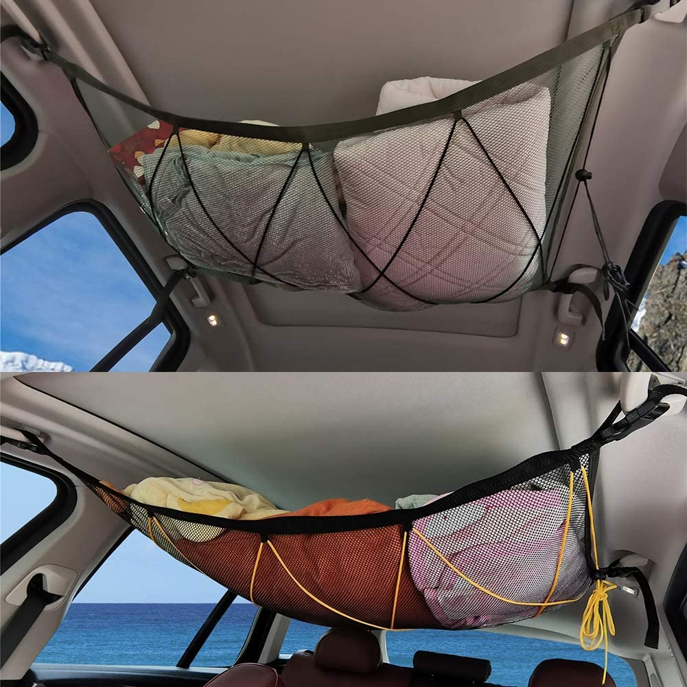 Leezo Car Ceiling Storage Net Pocket Universal Car Roof Interior Cargo Net Bag Trunk Storage Organizer Sundries Bag Storage Bag for Car Trunk