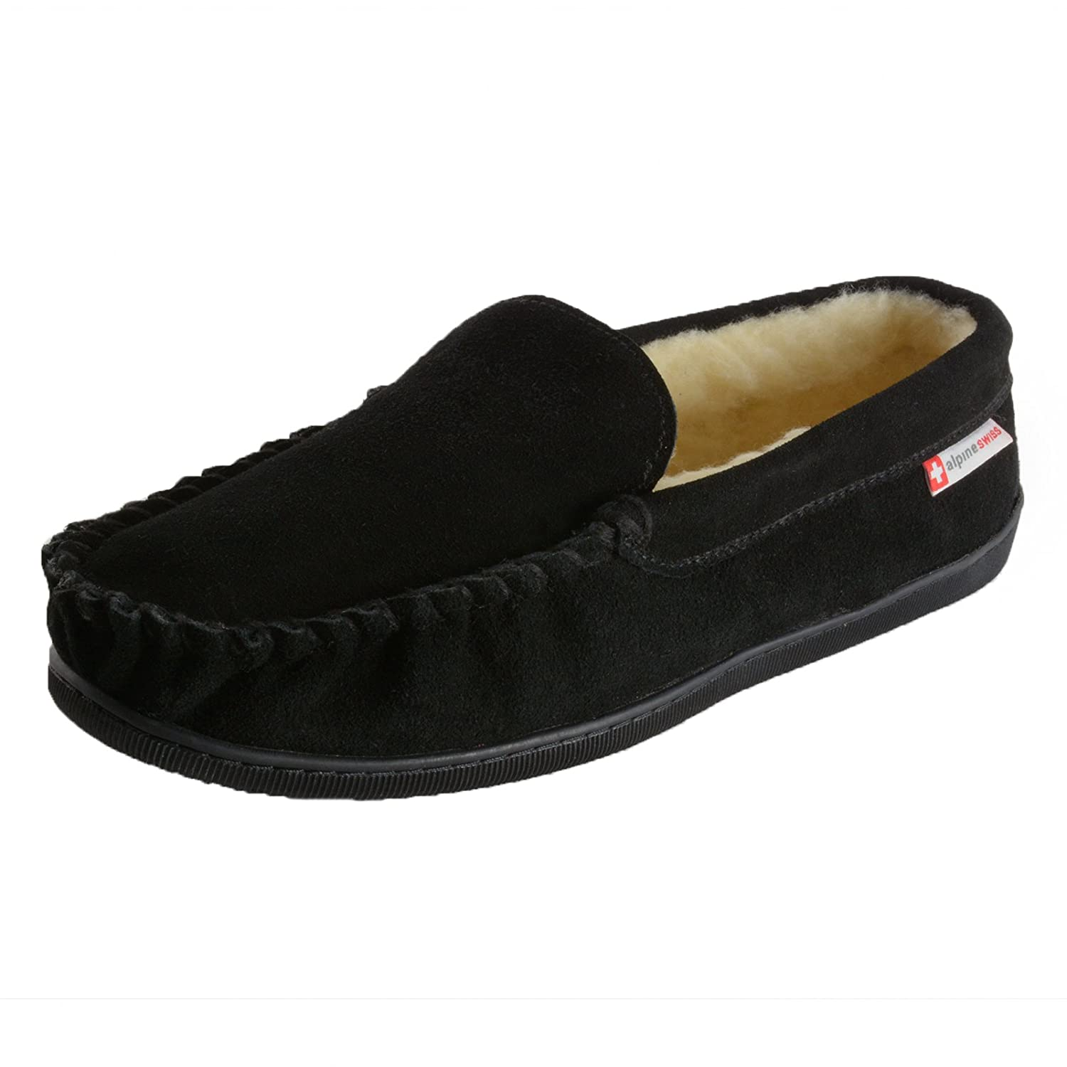 Alpine Swiss Sabine Womens Suede Shearling Slip On Moccasin Slipper
