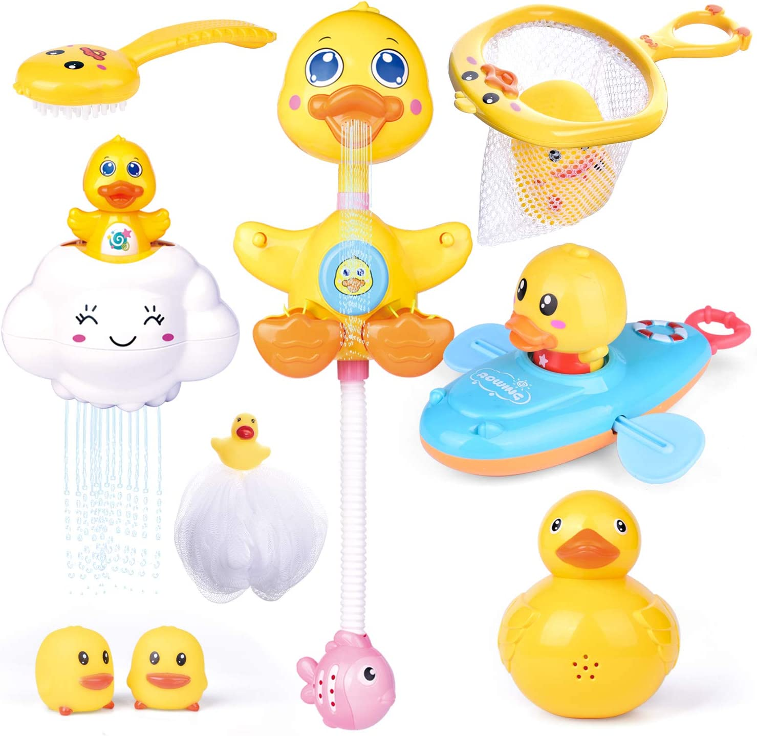 Calornest Baby Bath Toys Induction Sprinkler Shower Toys for Toddlers Infants Kids Boys Girls 2 pcs Duck Automatic Rotating Spray Water Bathtub Toys