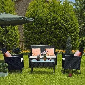 Bigzzia Rattan Garden Furniture Set, 4 Piece Patio Rattan Furniture Sofa Weaving Wicker Includes 2 Armchairs,1 Double seat Sofa and 1 Table (Black)