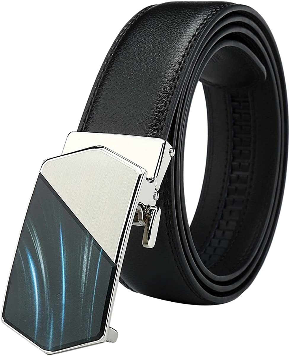 Mens Belt Genuine Leather Ratchet Belts with Automatic Buckle