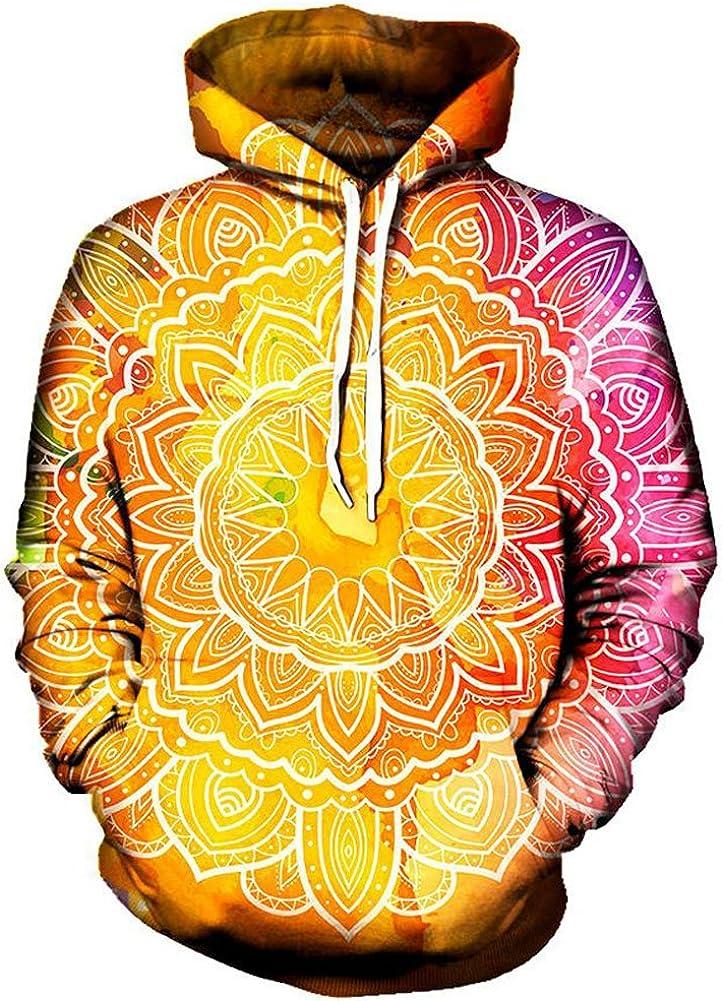 Chiclook Cool Unisex Psychedelic Pattern Hoodie Printed Sweatshirt Pullover Sweaters Hip Hop Streetwear Outwear Coat