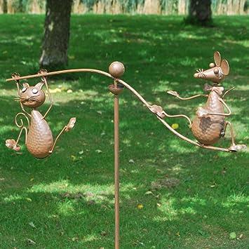 50u0026quot; Cat U0026 Mouse Rocking Balancing Metal Garden Wind Rocker Spinner