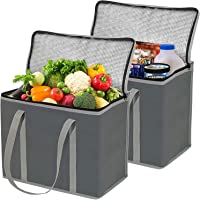 2 Pack XL Insulated Grocery Bags, Eco Friendly Heavy Duty Foldable Insulated Shopping Bags for Groceries and Reusable…