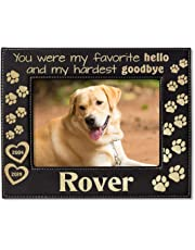 5848d6a4a9d4 Personalize Dog Cat Pets in Memory Picture Frame Engraved (Gold or Silver)  Unique Pet