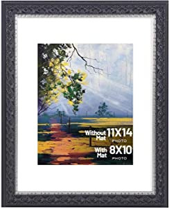 Golden State Art, 11x14 Photo Frame with Mat for Pictures 8x10 and Real Glass (Black with Silver & Burgundy & Ornate Finish Style with White Color Mat, 1.5 Inch Frame Border)