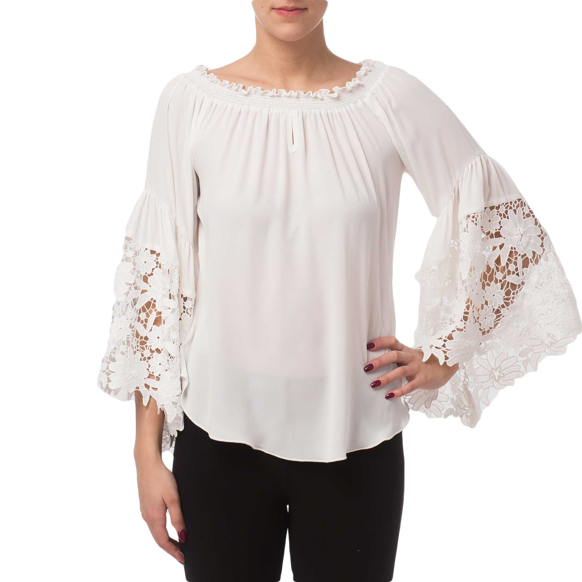 Joseph Ribkoff Off White On/Off Shoulder Lace Bell Sleeve Top Style 173286 - Size 10