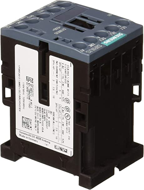 Siemens 3RT20151AK62 CONTACTOR AC110V 50HZ 1NC 120V 60HZ 3-POLE 3KW//400V SZ S00 SCREW TERMINAL AC-3