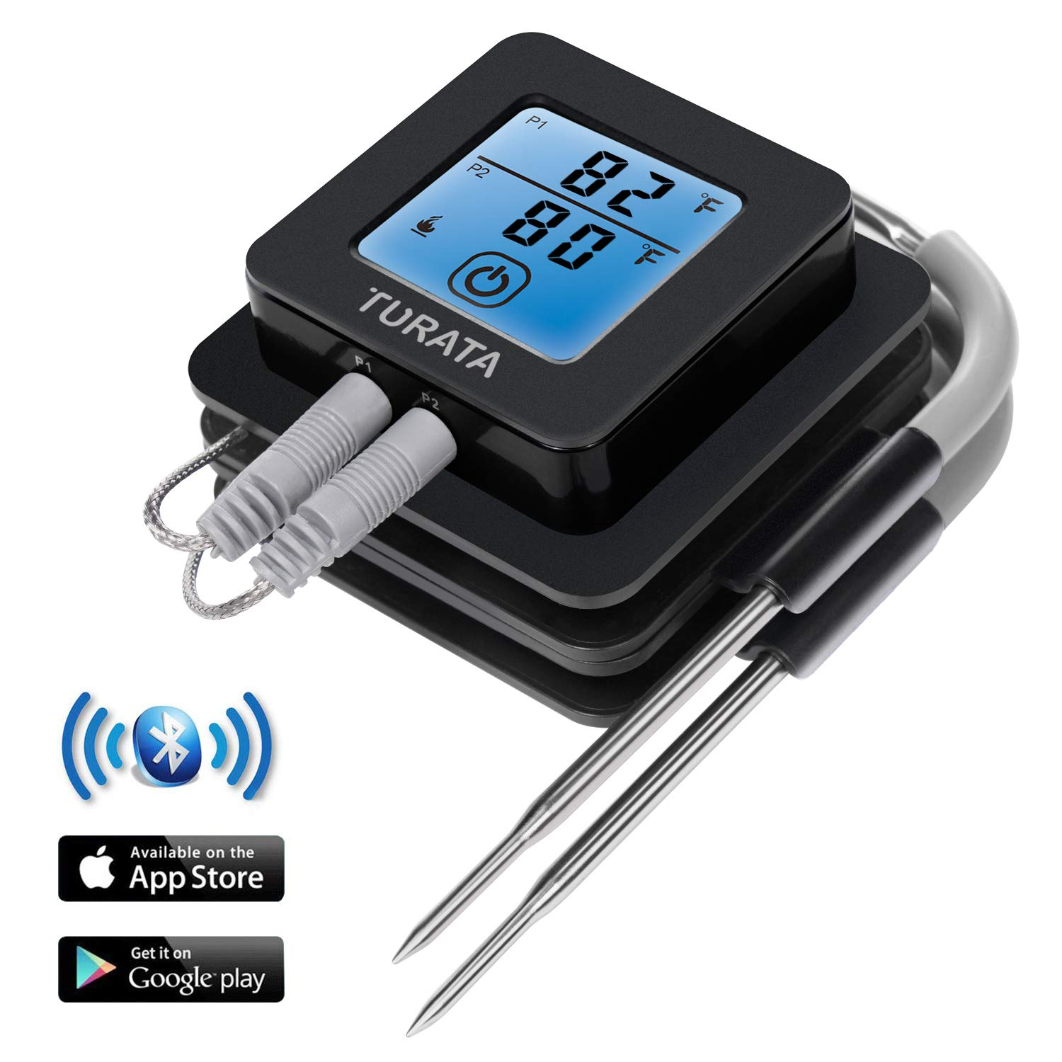 Bluetooth Meat Thermometer for Grilling, TURATA Wireless Remote Thermometer Digital Cooking Thermometer with 2 Steel Probes, Instant Reading, Magnetic Mounting, Alarm Monitor for Cooking, Kitchen, Food, Grill, BBQ, Steak, Turkey, Chicken, Support iOS , An
