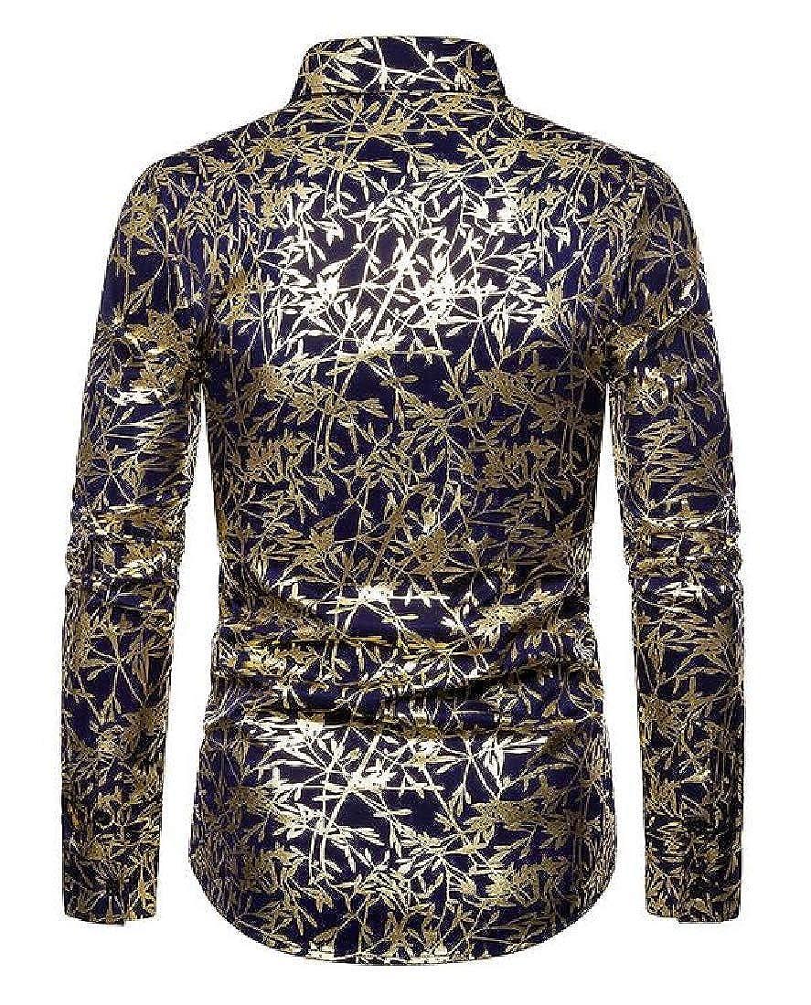 Domple Mens Print Business Long Sleeve Lapel Casual Regular Fit Button Down Dress Work Shirt