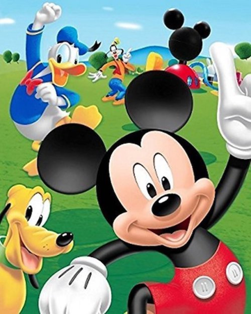 Disney Mickey Mouse, Donald Duck, Goofy, and Pluto Club House Super Soft Plush Oversized Twin Size Blanket