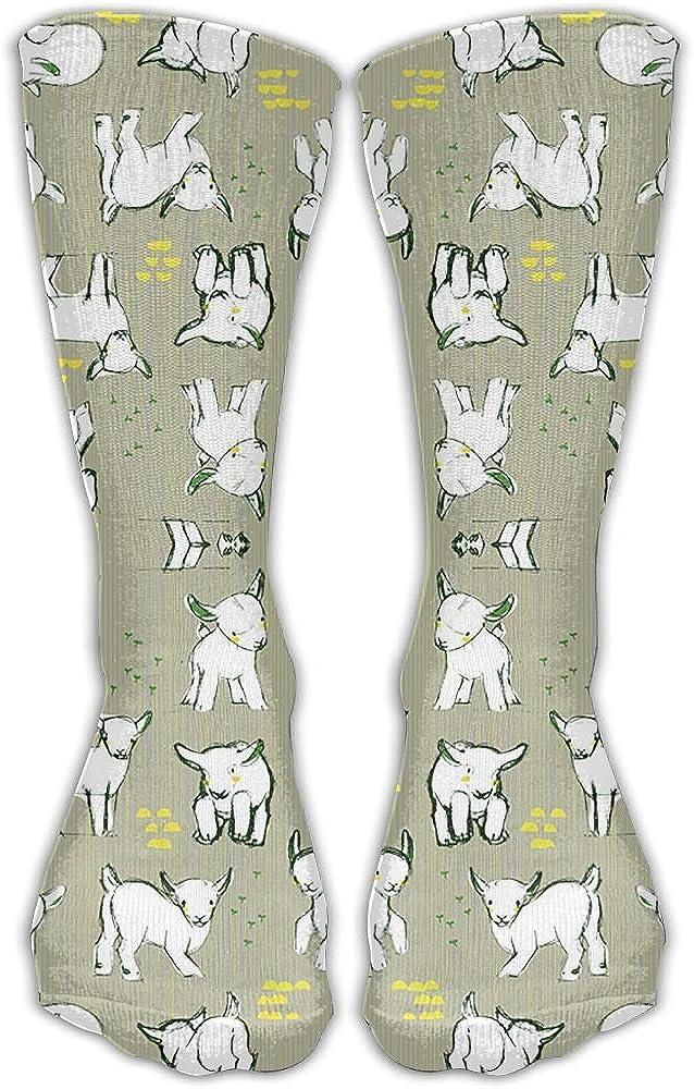 Baby Goats In Gray Crew Socks Cotton Casual Knitting Warm Winter Socks