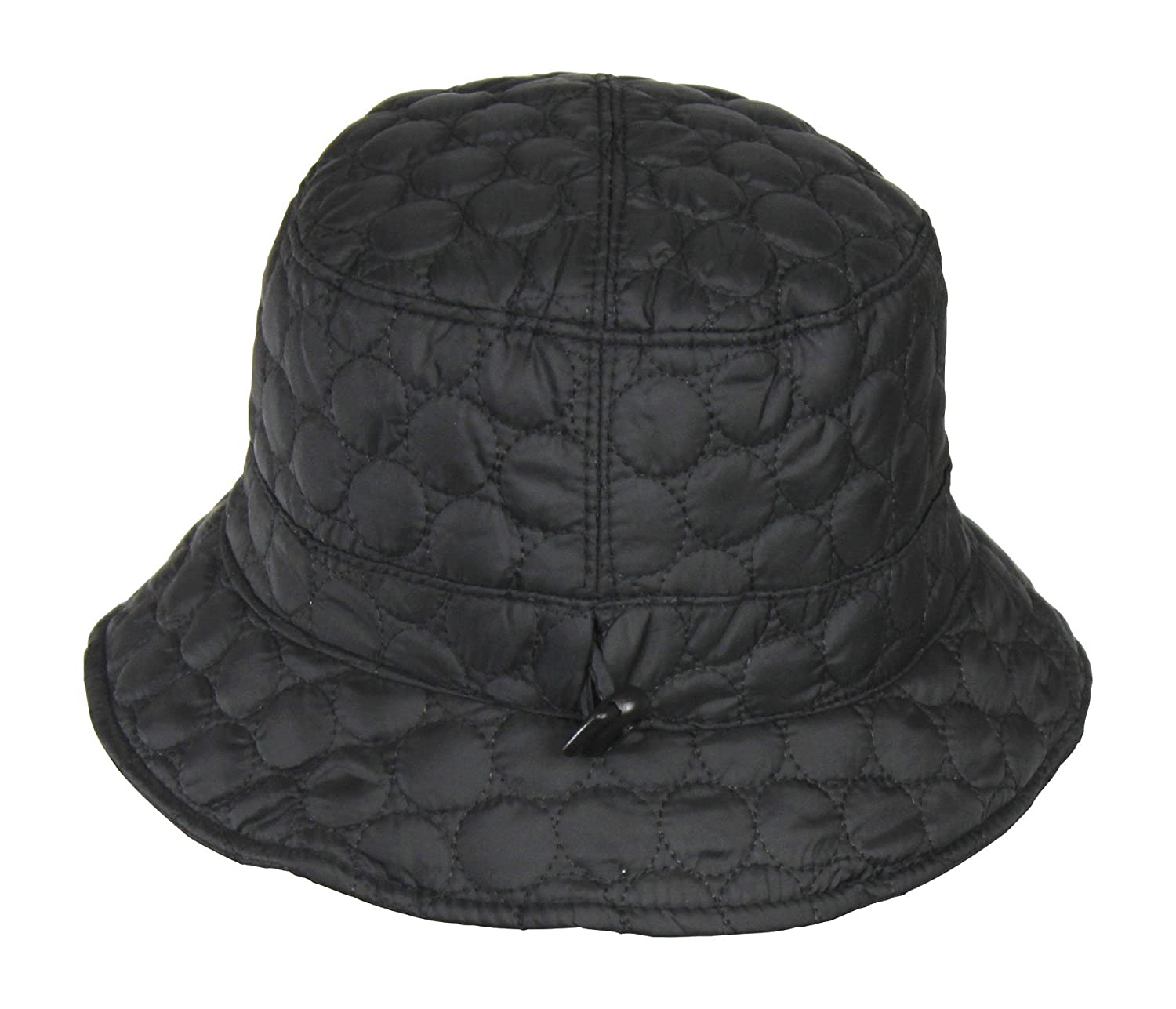 Black Packable Water Repellent Quilted Bucket Rain Hat w  Adjustable  Drawstring at Amazon Women s Clothing store  d1606911b3a3
