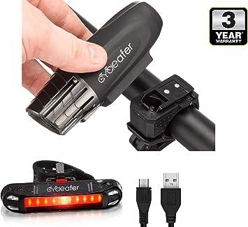 Cycleafer® Luz Bicicleta Recargable USB, GARANTÍA DE 3 años ...