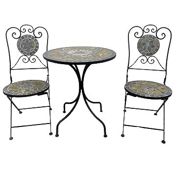Amazon.de: Bistro Set Balkon Set Eisen Gartenmöbel Set Mosaik Klappbar