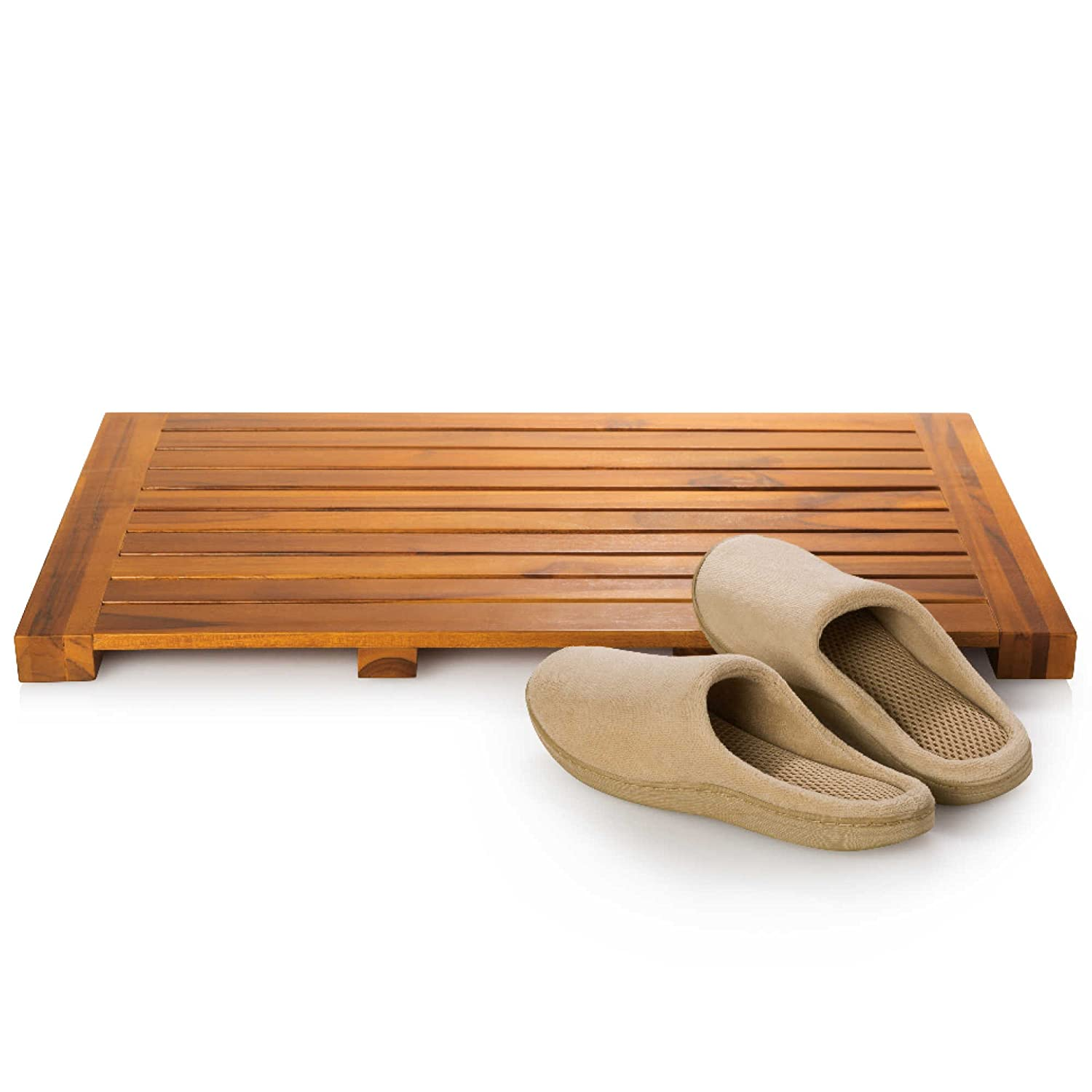 Taymor Teak Bath Mat Solid Natural Wood Luxury Spa Floor Rug For Bathroom Shower, 24 x 16 Inch