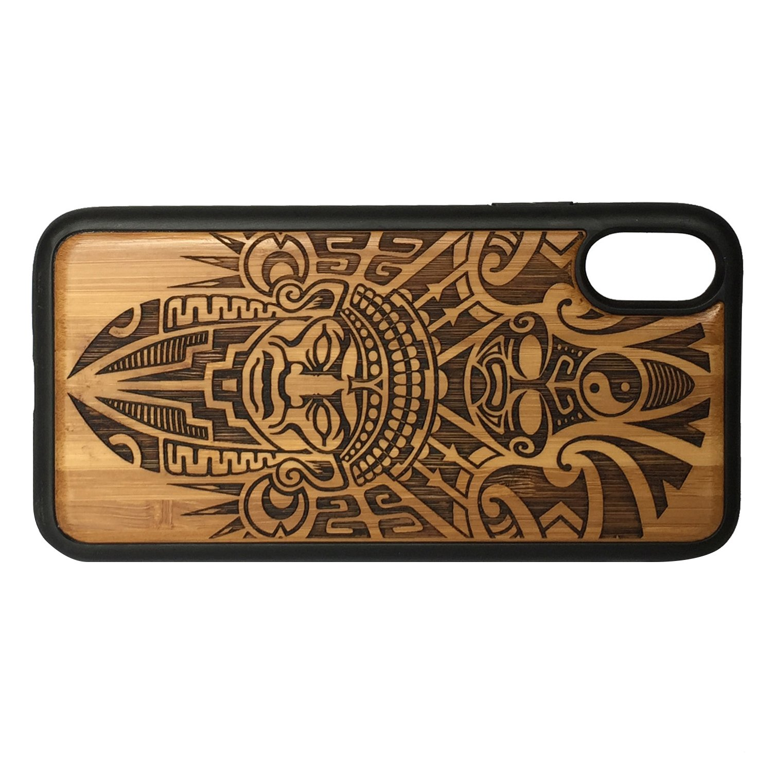 5516af2bf Amazon.com: Aztec Pattern Phone Case Cover for iPhone Xs MAX by  iMakeTheCase   Eco-Friendly Bamboo Wood Cover + TPU Wrapped Edges   Tribal  Warrior Mask ...