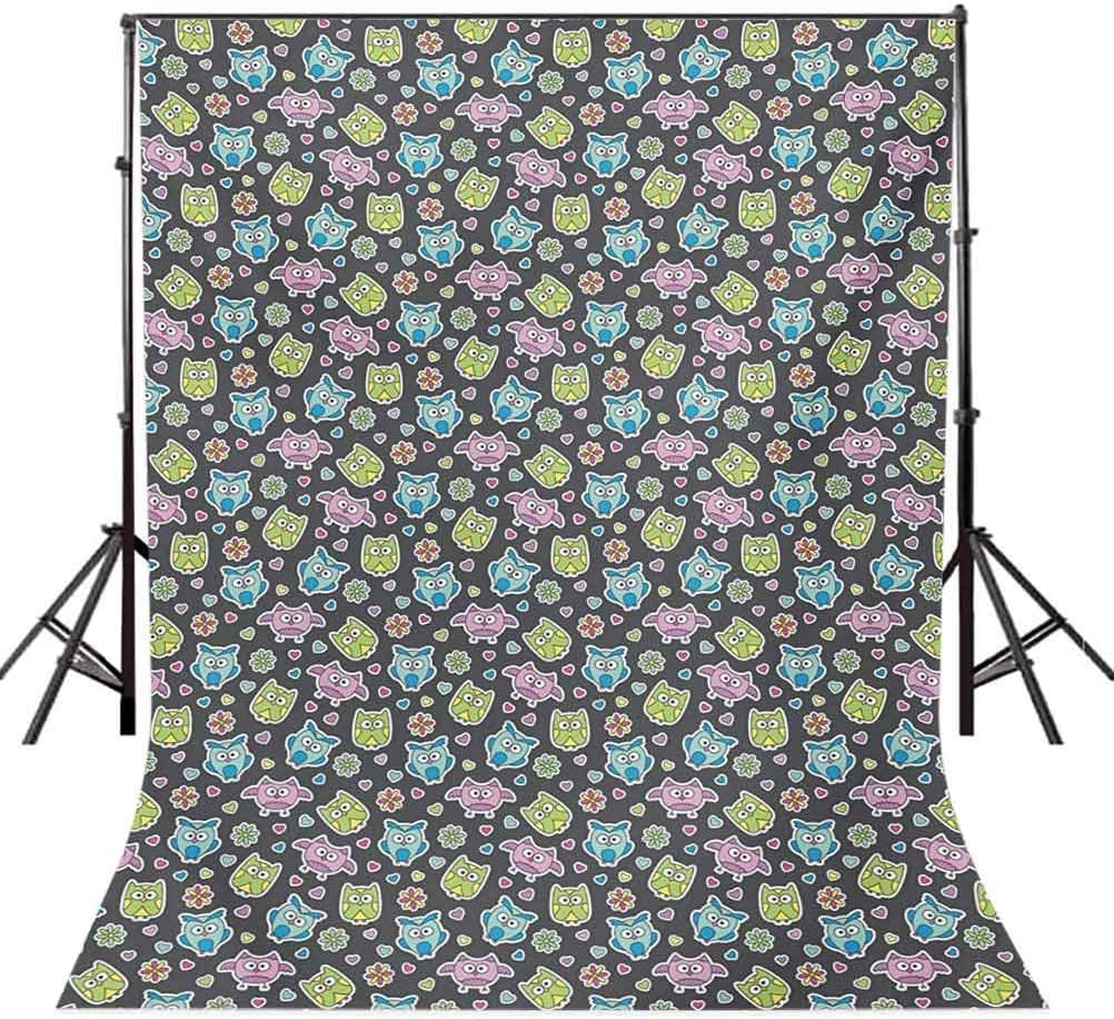 Owls 6.5x10 FT Photography Backdrop Cute Cartoon Animals with Flowers and Hearts Doodle Style Flora and Fauna Pattern Background for Baby Birthday Party Wedding Vinyl Studio Props Photography
