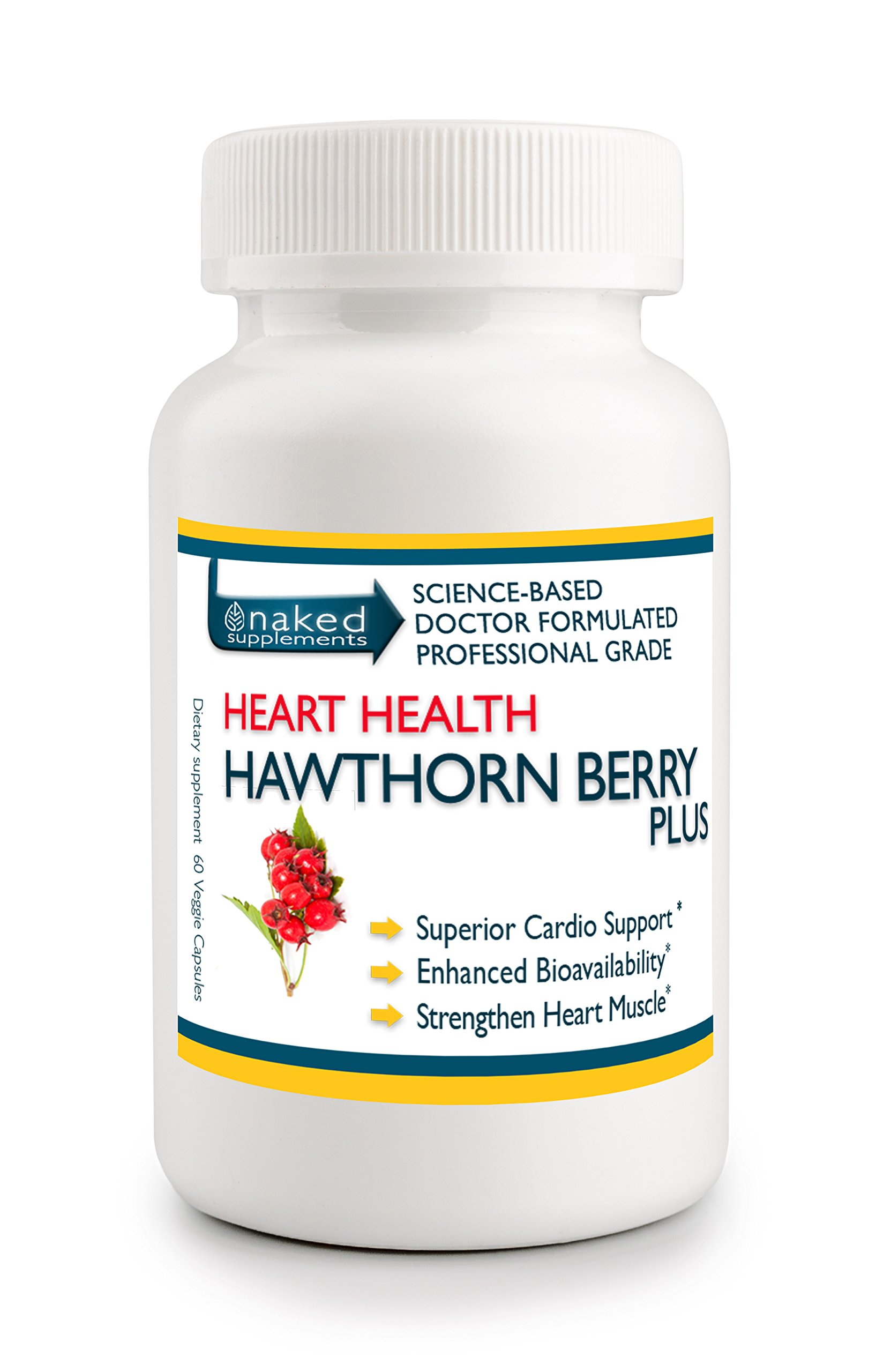 Hawthorn Berry PLUS - Professional Strength Heart Health Vegan Capsules - Enhanced Absorption & Bioavailability - Assists Blood Pressure, Angina, and more... (1)