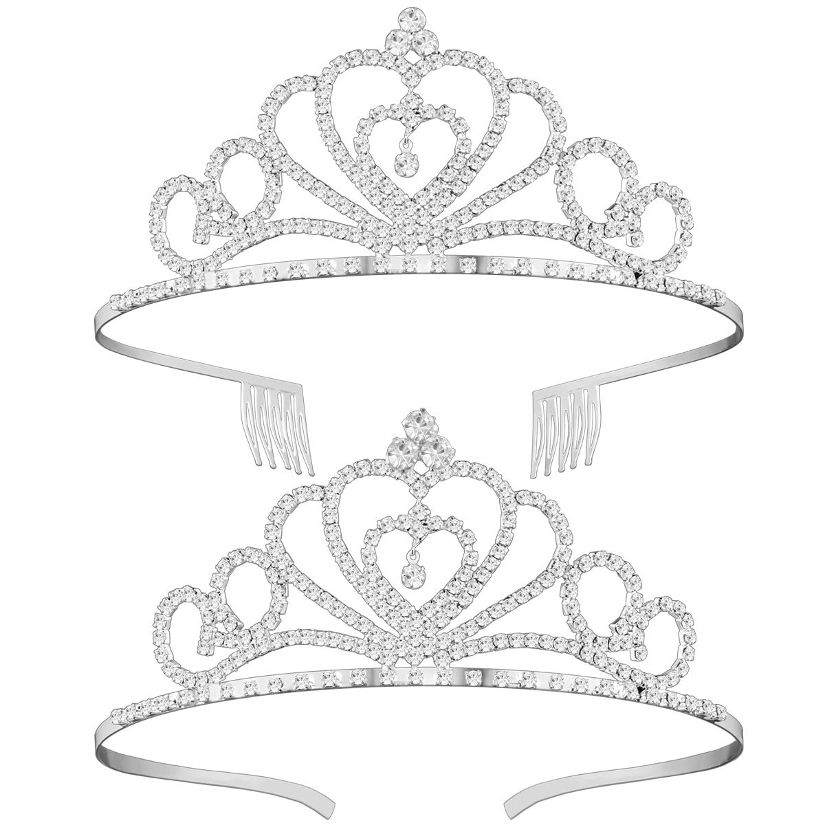 Rhinestone Crystal Tiara Crown, 2 Pack Wedding Bridal Prom Birthday Pageant Princess Tiara Headband