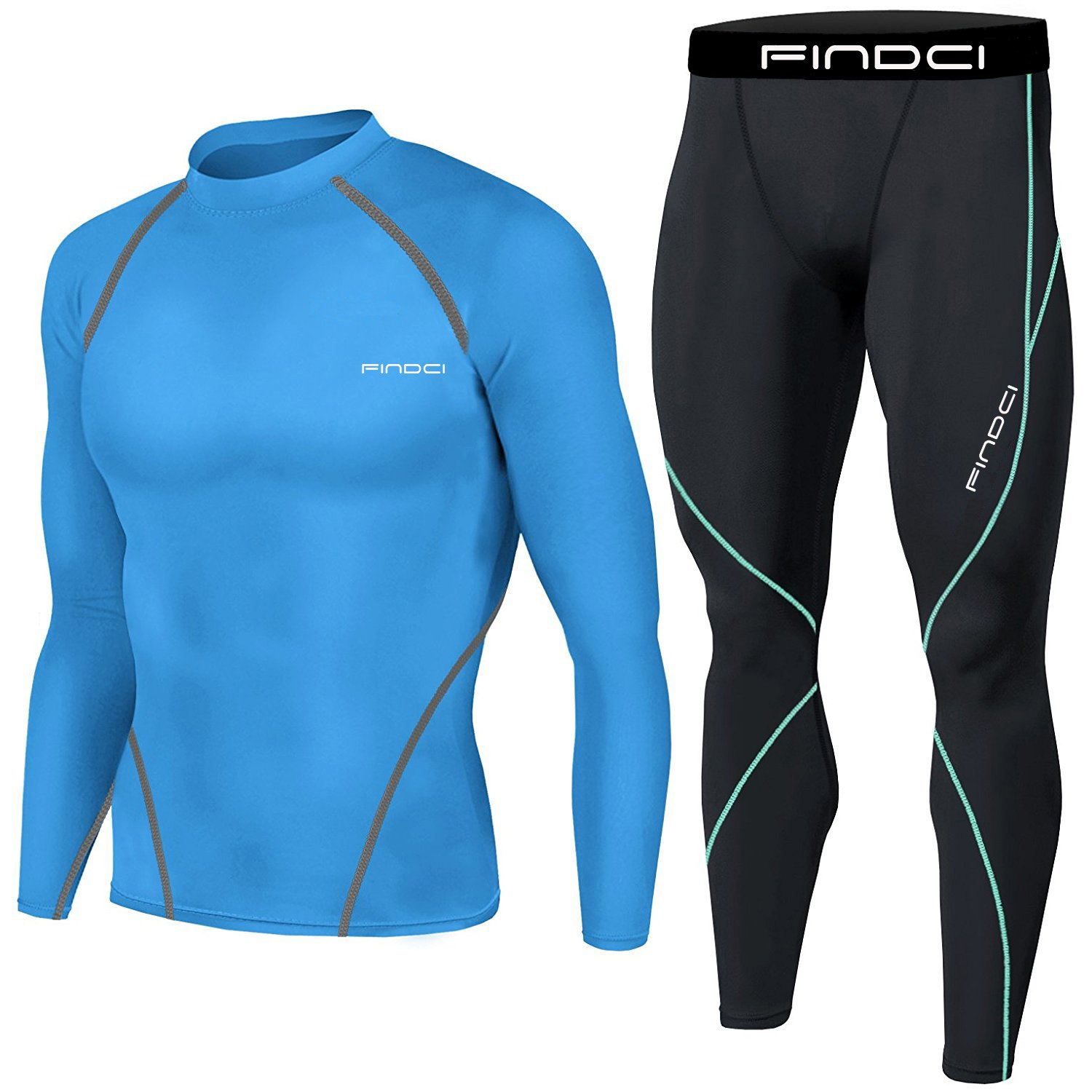 1Bests Mens Sports Running Set Compression Shirt Pants Skin-Tight Long Sleeves Quick Dry Fitness Tracksuit Gym Yoga Suits