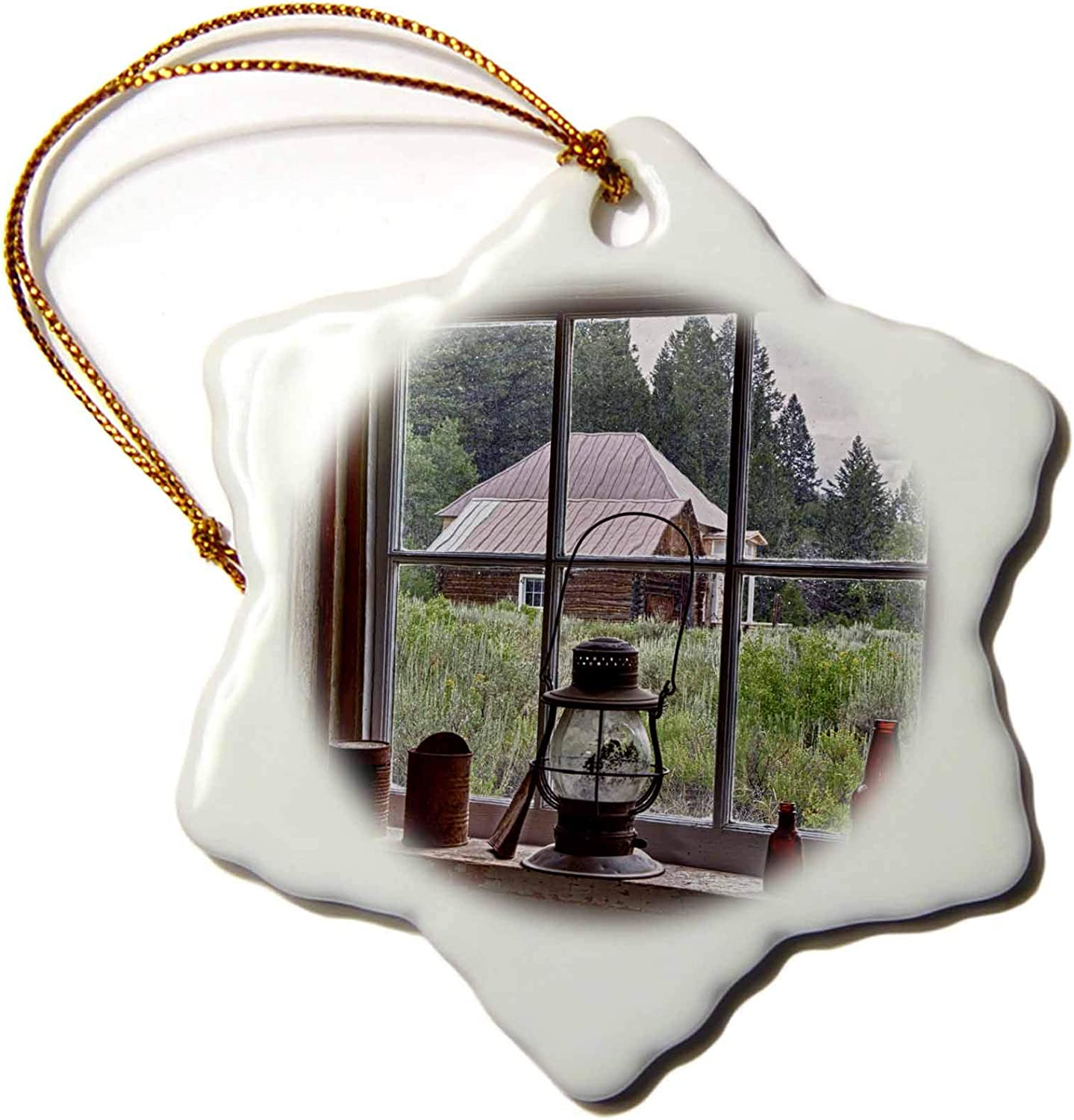 3dRose USA, Idaho, Custer, Gold Miners Cabin, Window - US13 JWI0071 -. - Ornaments (ORN_144323_1)