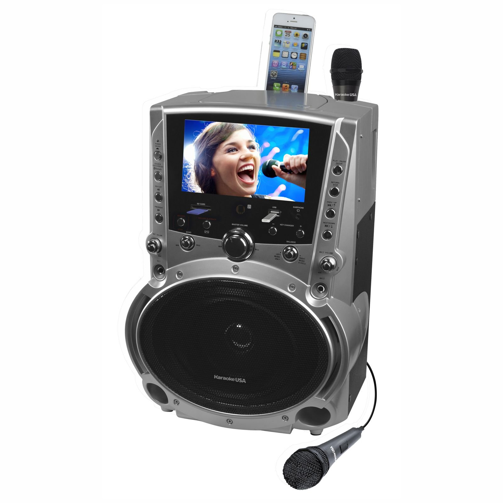 Karaoke USA GF757 50 Watt Bluetooth DVD CD+G MP3+G Karaoke System with 7-Inch TFT Color Screen and Record Function