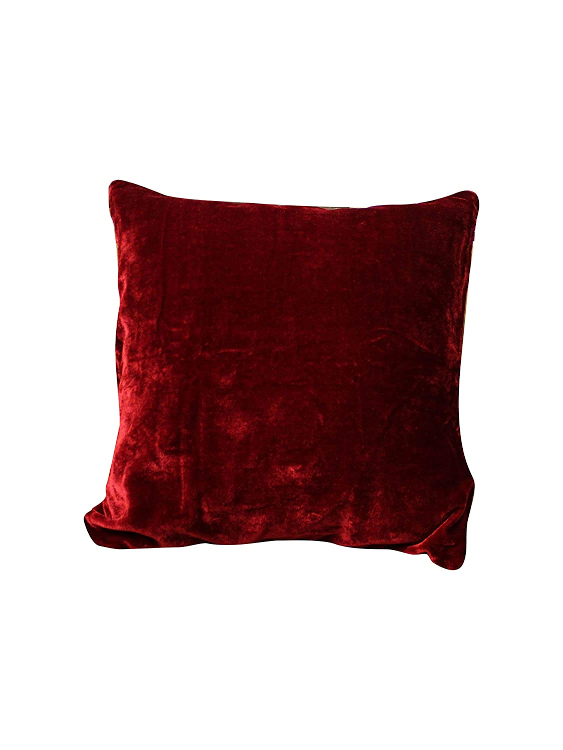 Elina Home 2 Set of 2 Maroon Cozy Solid Velvet Throw Pillow Couch with Zipper Hidden One Size 18x18 Decorative Pillowcases Cushion Cover Cases for Sofa