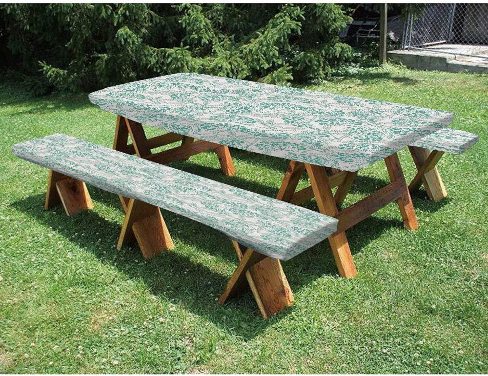 "72"" Polyester Picnic Table and Bench Fitted Tablecloth,Classic Botanical Pattern with Creeper Leaves and Berries Autumn Fall Nature Theme Decorative 3-Piece Elastic Edged Table Cover for Christmas,Par"