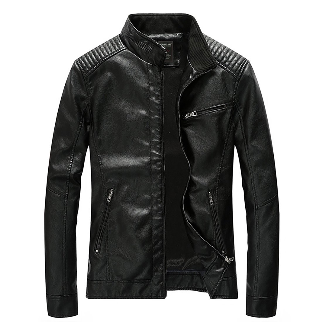 Nantersan Men's Leather Jacket Stand Collar Slim PU Mens Faux Fur Coats Motorcycle Jacket