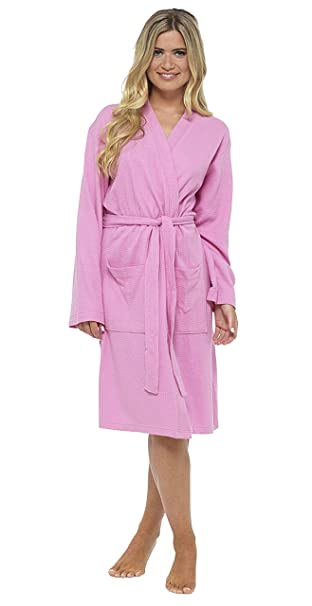 Insignia Mujer Albornoz Estilo GOFRE Bata, Suave 100% Algodón Tiras Kimono - Rosa,