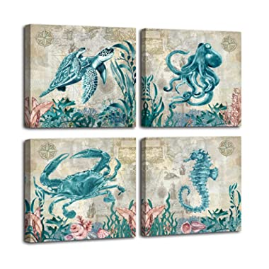 """Sea Turtle Bathroom Wall Decor Canvas Prints Seahorse Octopus Marine Life Teal Watercolor Painting Beach Theme Artwork 4 Panels Framed for Bedroom Living Room Bedroom Home Office Decorations (12""""x12x4"""