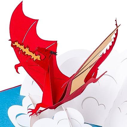 Tarjeta de cumpleaños en 3D, diseño de dragón en nube ...
