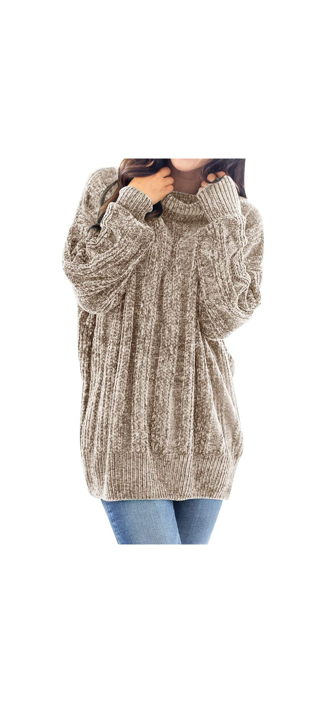 Women's Long Sleeve Turtleneck Chunky Soft Chenille