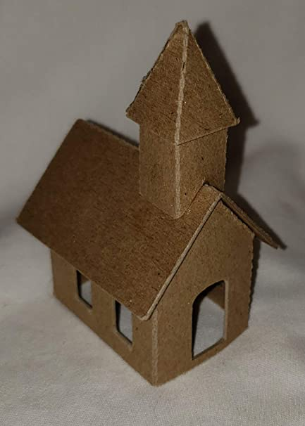 Putz Style Little Village Cardboard House Mini Church With Small Hole